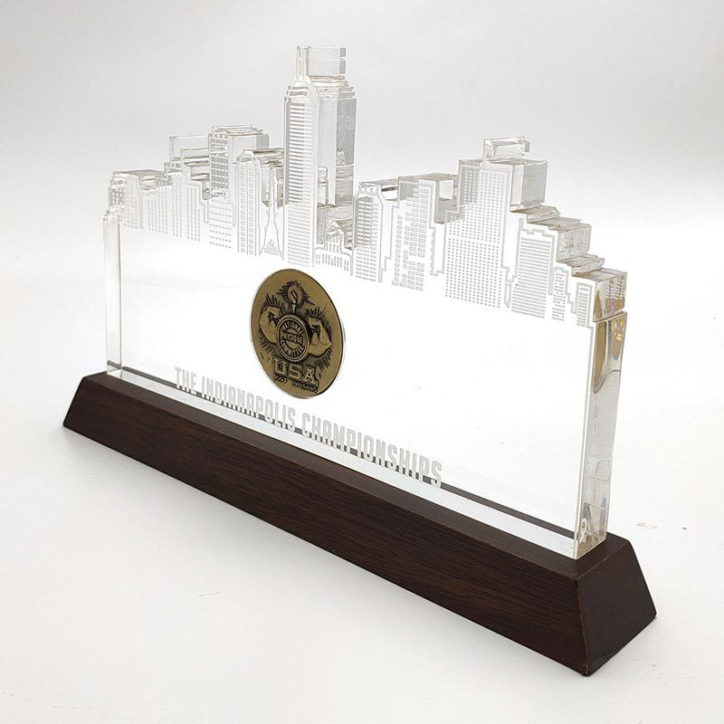 Custom made Clear Building Reflection Acrylic Award with Wood Base