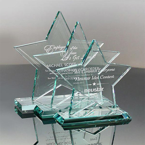 Noble High Quality Jade Glass Star Award