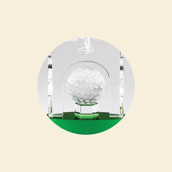 High Quality Crystal Dome and Golf Ball Sports Trophy