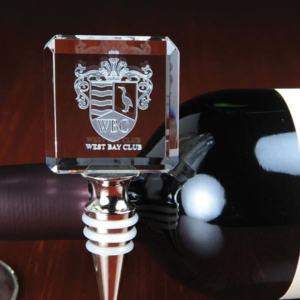 Noble Personalized 3D Engraved Square Crystal Wine Stopper For Gifts