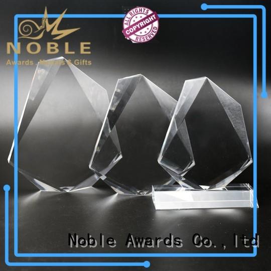 Noble Awards cheap custom shape Custom made Clear Building Reflection Acrylic Award with Wood Base with Gift Box For Awards