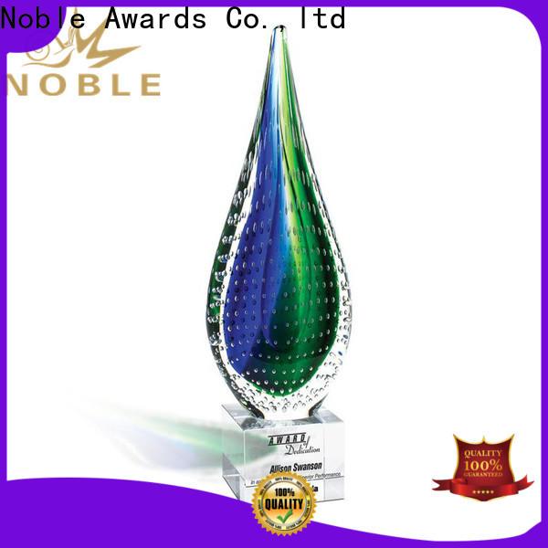 Noble Awards glass art glass trophy OEM For Sport games