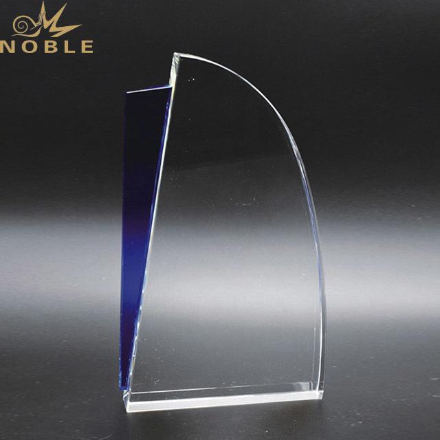 2019 Noble Custom Blue Accented Regatta Glass Crystal Sail Boat Trophy Award