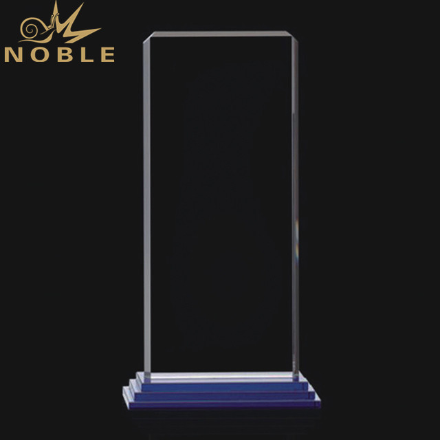 Clear Crystal Rectangle Award Plaque With Base