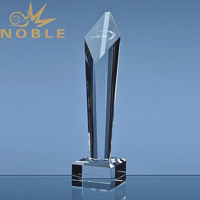 Custom crystal pillar trophy