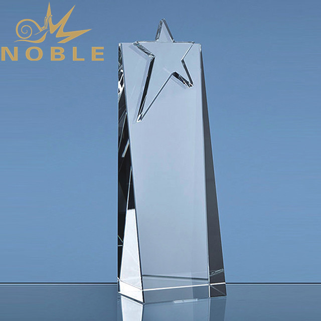 Popular design crystal wedge award with star