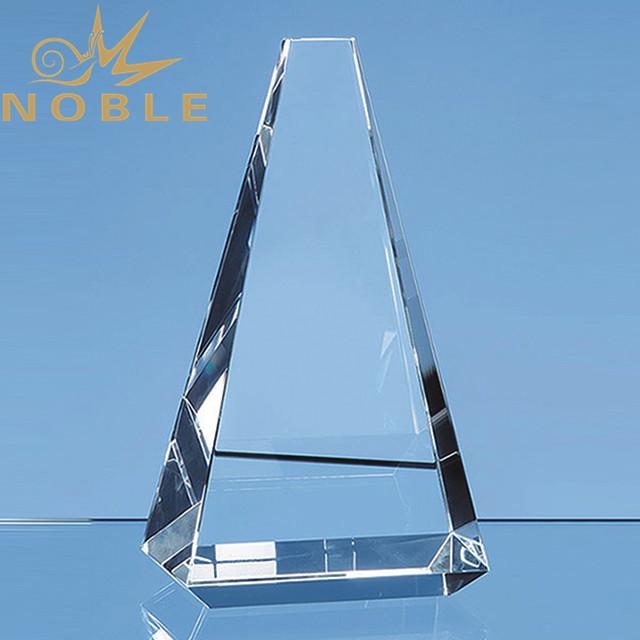 Custom engraving blank crystal pyramid trophy
