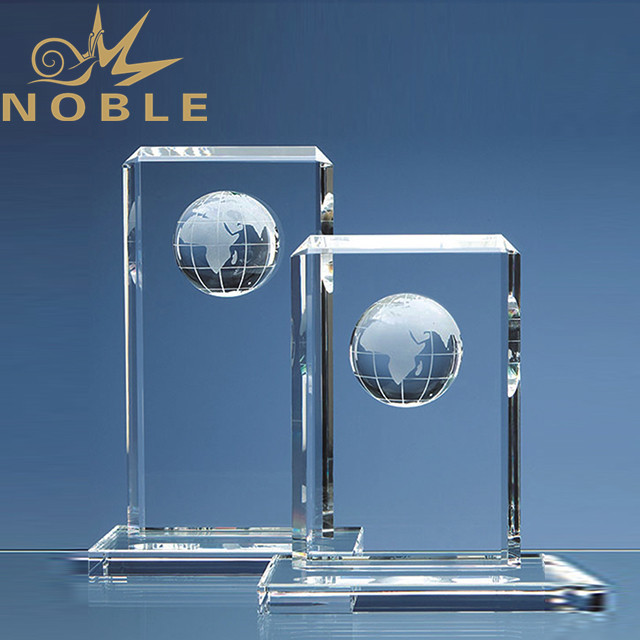 Free engraving custom blank crystal globe trophy plaque