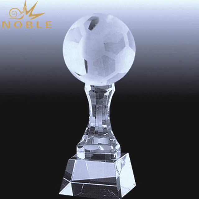 Customized Logo Engraving Crystal Soccer Trophy
