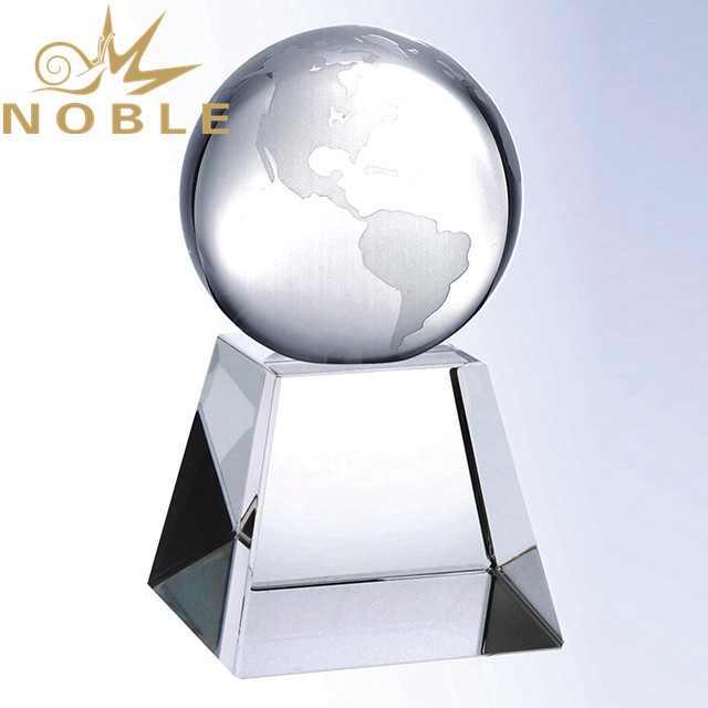 Noble High Quality Free Engraving Crystal Globe Awards