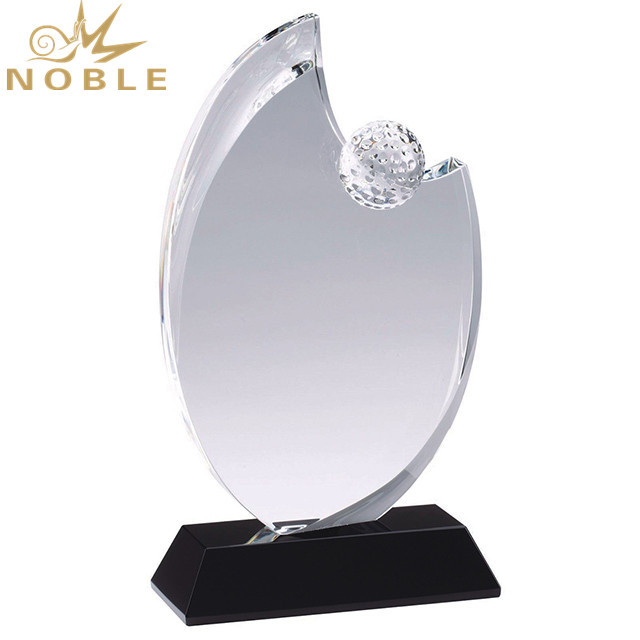 Golf Ball Diamond Crystal Trophy With Clear Base Crystal Award
