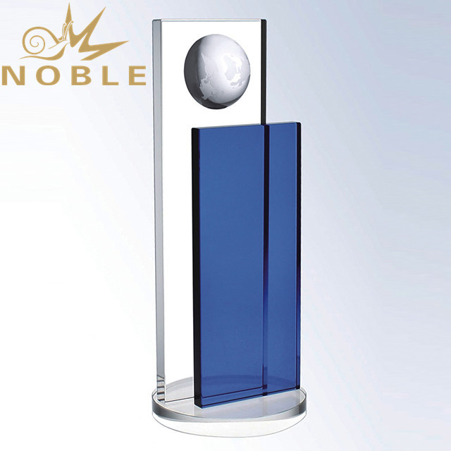 Noble Custom Blue Crystal Plaque with Globe