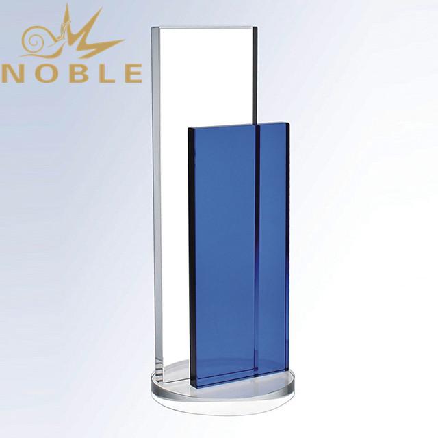 Custom Engraving Blue Crystal Plaque