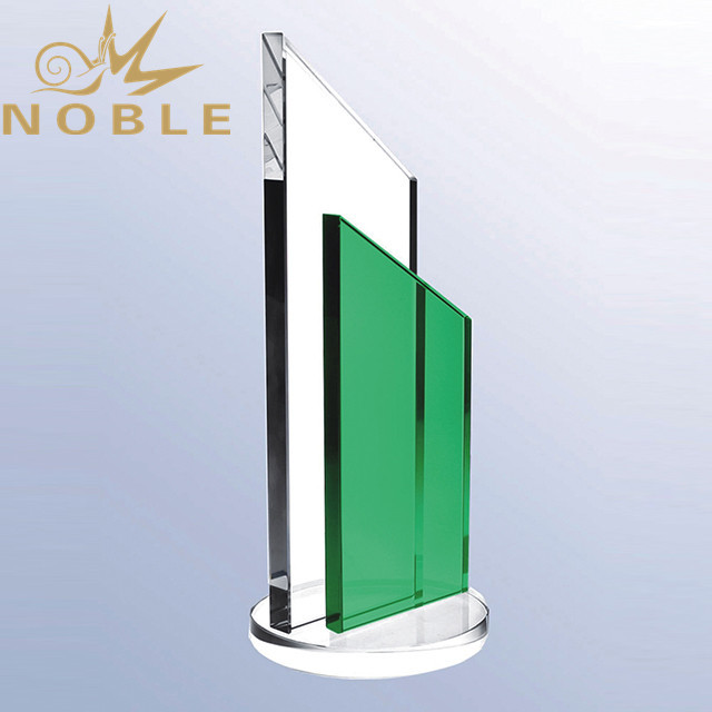 High Quality Green Crystal Plaque Trophy With Free Engraving