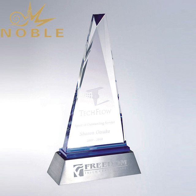Excellent Design Free Engraving Crystal Plaque Award with Metal Base