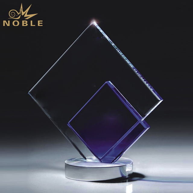 Customized Clear And Blue Crystal Trophy