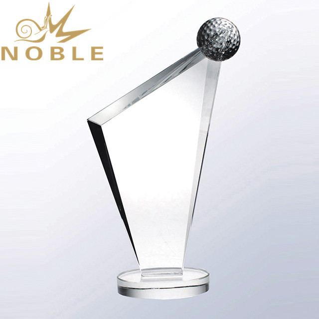 Noble High Quality K9 Crystal Golf Plaque Trophy