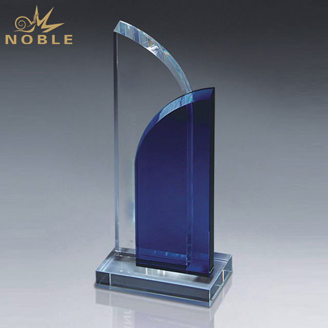 Double Arch Blue Crystal Trophy