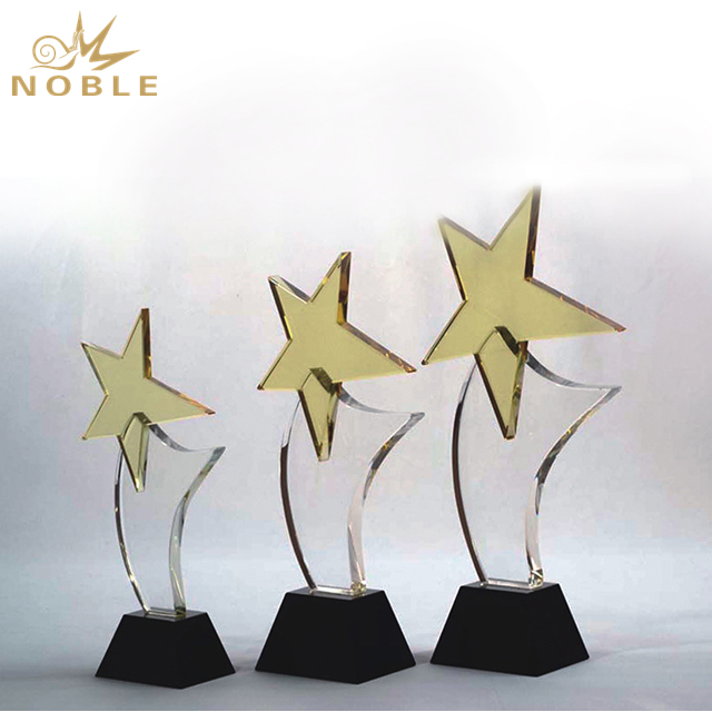 High Quality Golden Star Crystal Trophy