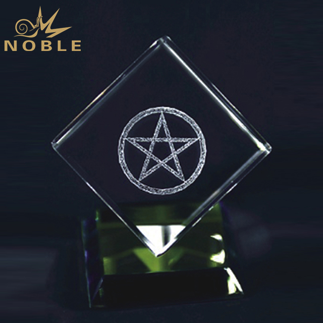 Crystal Cube Award On Colored Base