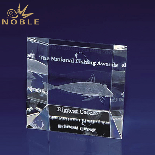 High Quality Crystal Cube Award With 3d Engraving Logo