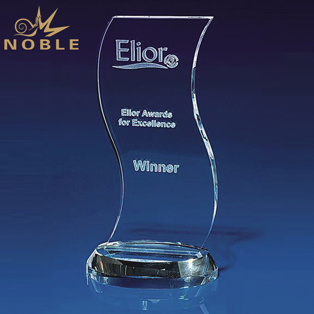 High Quality Wave Crystal Award For Business Gift