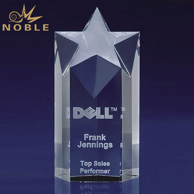 Customized Crystal Star Award Trophy With Logo