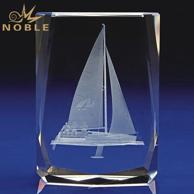 Unique Design Crystal Cube With Engraved Boat