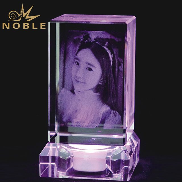 Crystal Cube With Printed Picture On Crystal Led Base