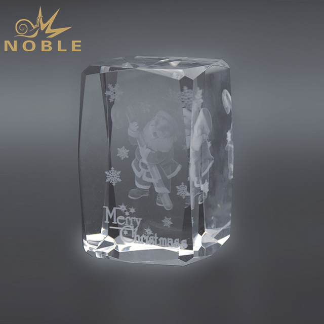 Laser Engraved Santa Claus Crystal Cube