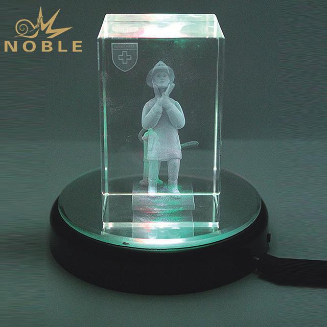 Laser Engraved Cube Crystal Gift With Black LED Base