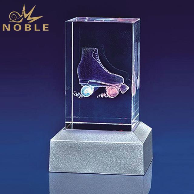 Customized Craft Crystal Cube With LED Base
