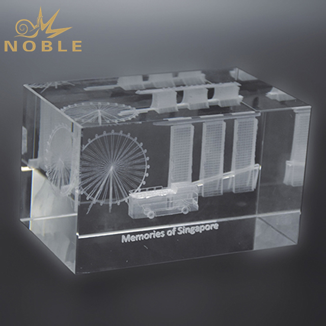 High Quality K9 Crystal Cube With Engraving Logo