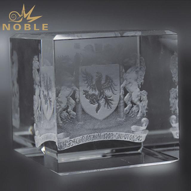 Laser Engraved 3D Logo Crystal Cube Award