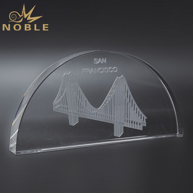 Customized Design Semicircle Crystal Plaque With Engraving Logo