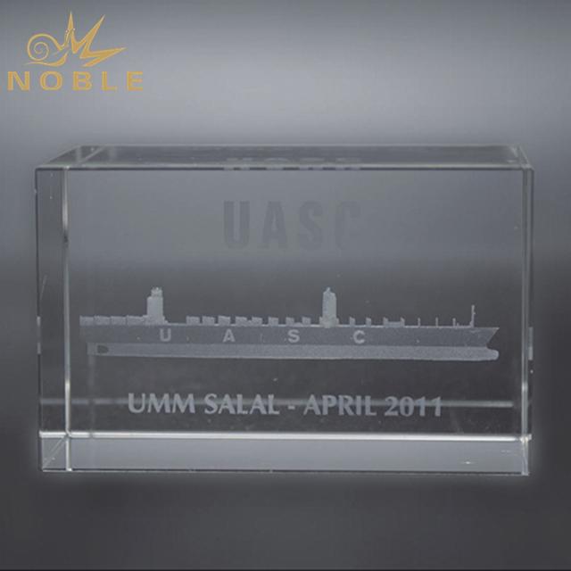 Laser Engraved 3d Sail Boat Crystal Cube