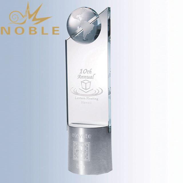 Custom new design crystal globe trophy with metal base
