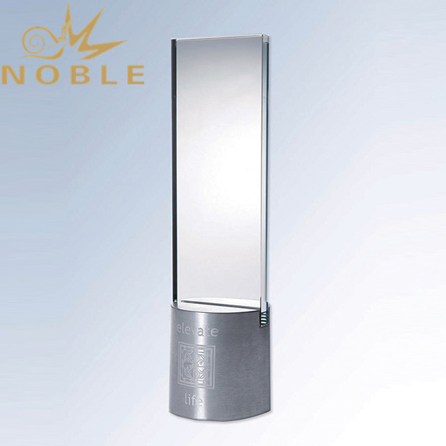 High quality custom engraving crystal plaque with metal base