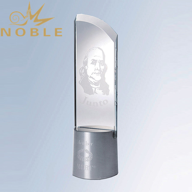 Excellent design Custom crystal plaque with metal base
