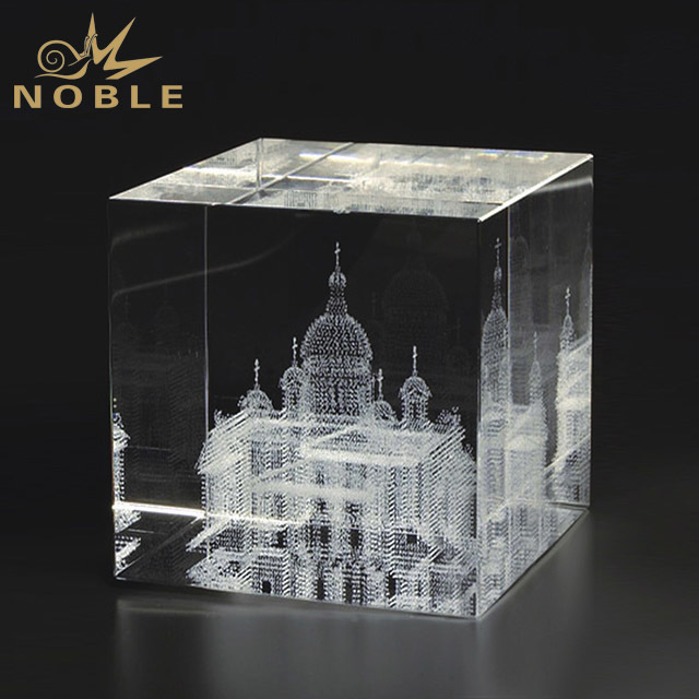 2019 Noble Perfect K9 3D Laser Engraved Square Crystal Cube Blank Crystal Glass Award Trophy