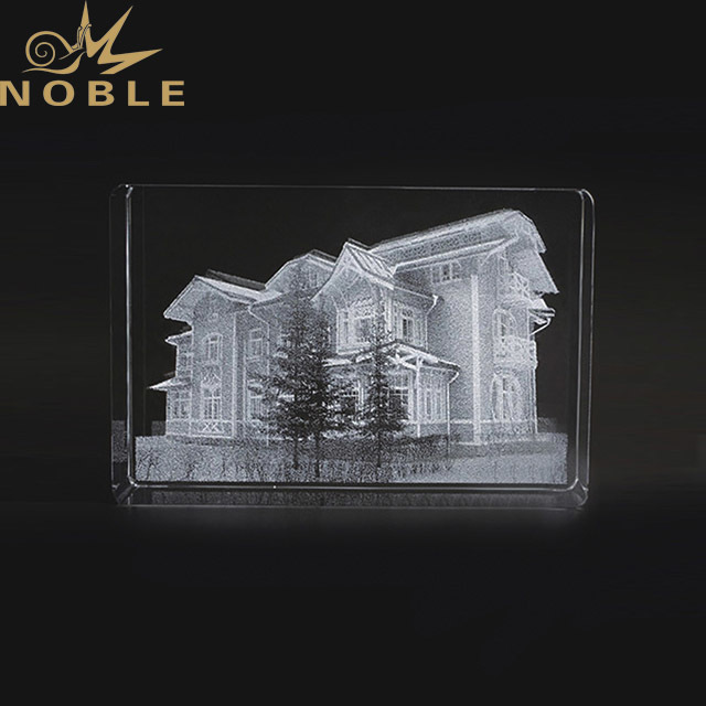2019 Noble Custom High Grade 3D Laser Crystal Carved Glass Rectangle Shape Trophies And Awards