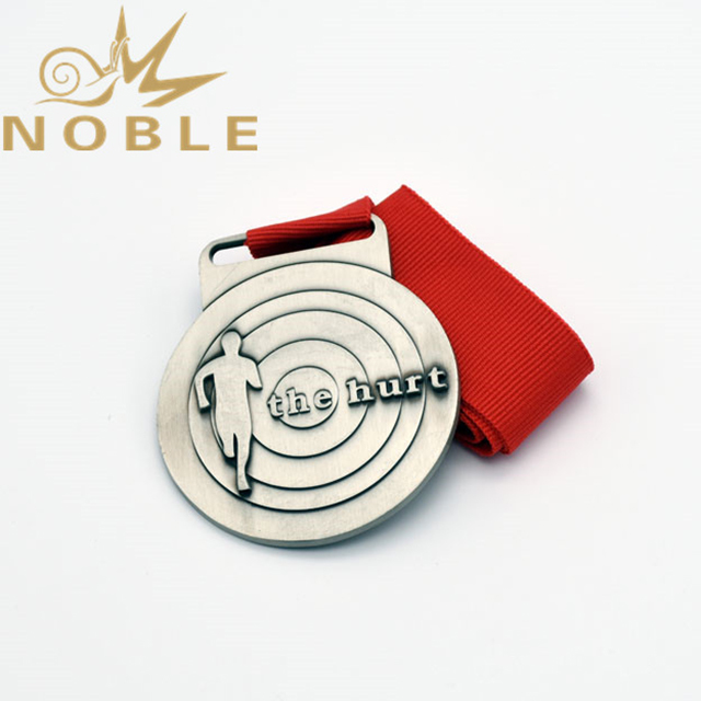 Cheap Customized Silver Metal Medal With Red Ribbon