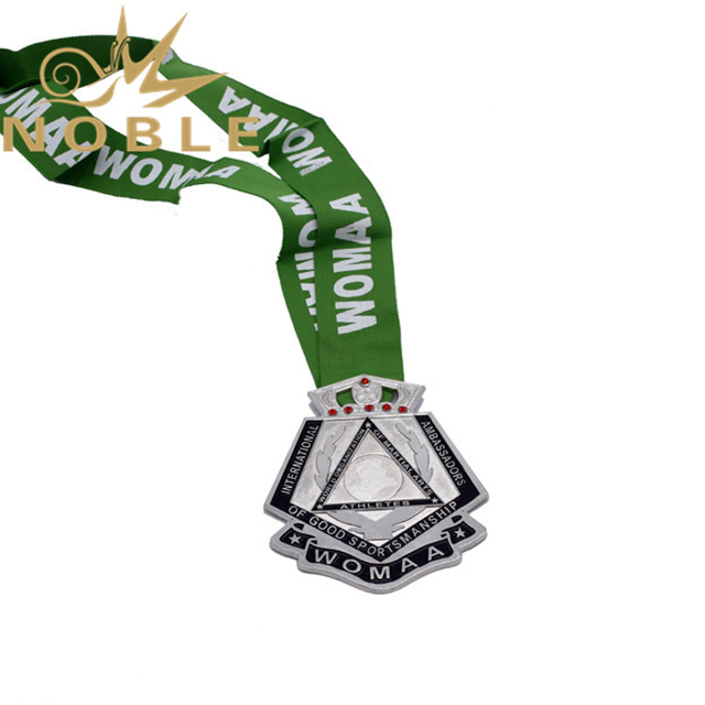 Customized Silver Metal Medal With Ribbon