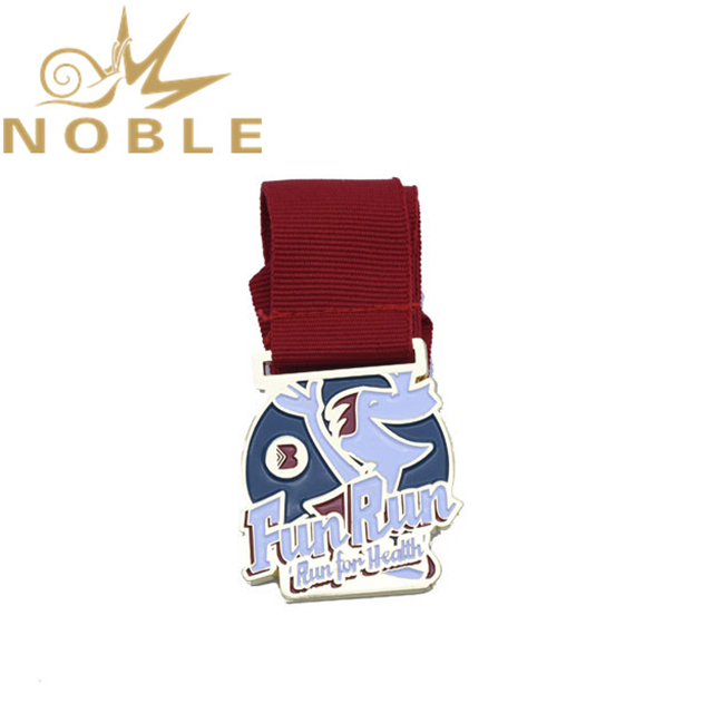 Customized Zinc Alloy Silver Medal With Red Ribbon