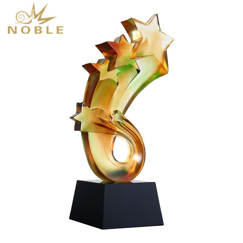 Creative Five Star Liu Li Crystal Trophy For Souvenir