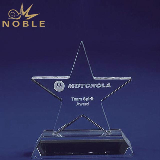 2019 Noble Best Selling 3D Laser Engraving Creative Star Shape Crystal Trophy