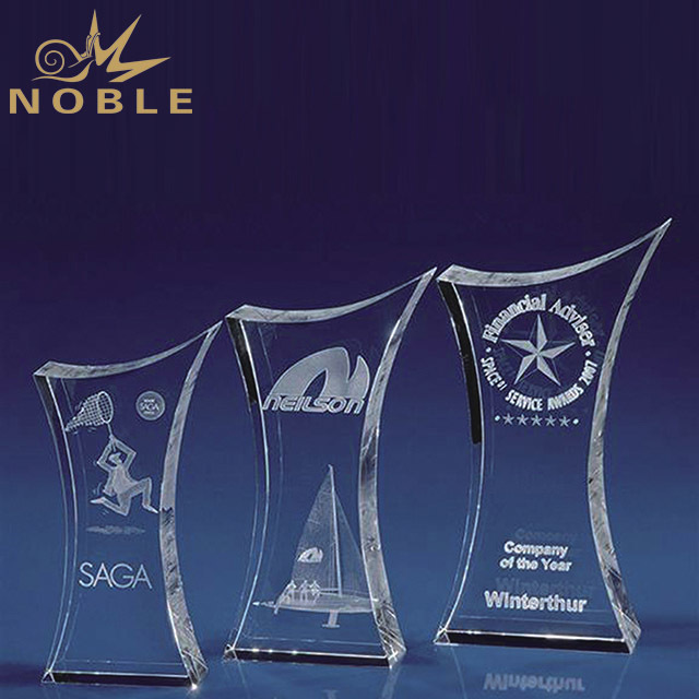 2019 Noble Cheap Crystal 3D Laser Trophy With Stand
