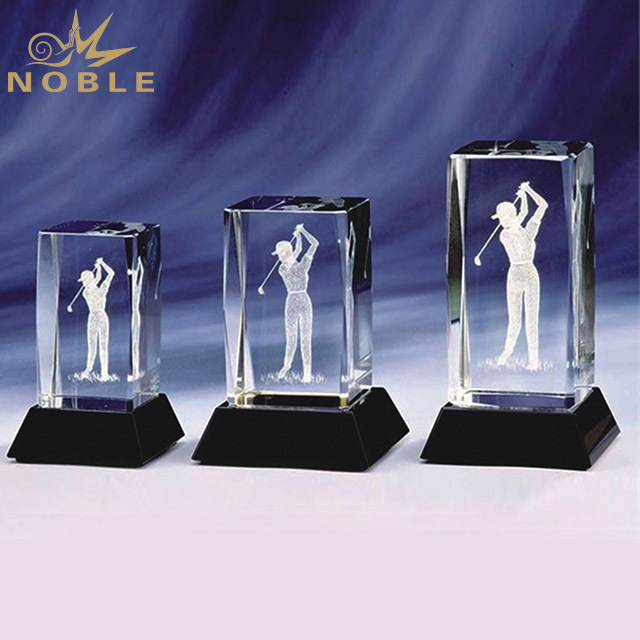 2019 Noble 3D Laser Engraving Optical Crystal Golf  Design Sports Award Trophy