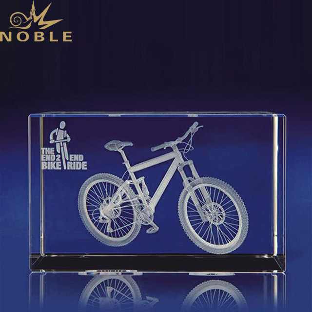 2019 Noble Factory Direct Sales 3D Laser Crystal Trophy Prize for Mountain Bike Trophy