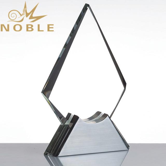 Custom crystal plaque award with metal base